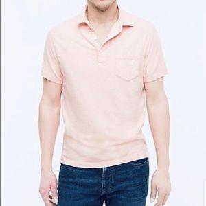 J. Crew Pink Garment Dyed Slub Cotton Polo L